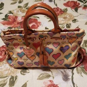 Vintage Dooney & Bourke Signature Hearts Hand Bag